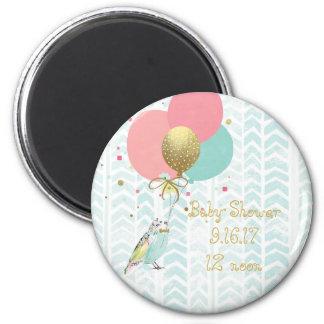 Modern Bird & Balloon Art Baby Shower Magnet