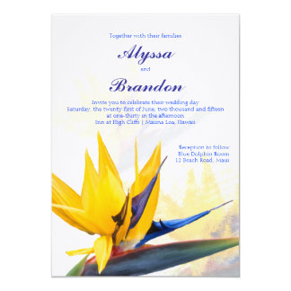 Modern Bird of Paradise Hawaiian Wedding Invite