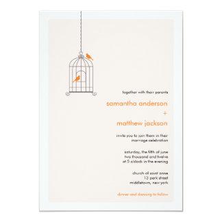Modern Birdcage Wedding Invitation - Orange