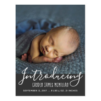Modern Birth Announcement Photo Postcard