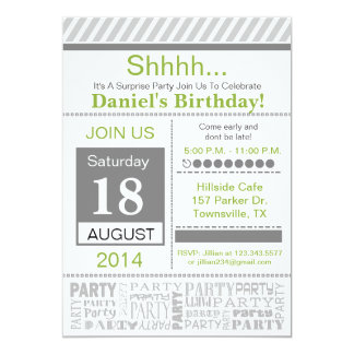 Modern Birthday Party Invitation basic grey