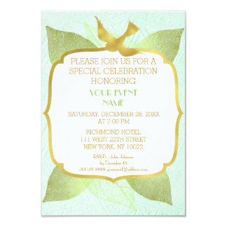 Modern Birthday Wedding Green Golden Vip 9 Cm X 13 Cm Invitation Card
