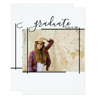 Modern Black Abstract Graduation Photo Invitations