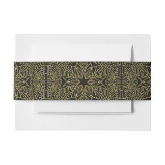 Modern Black and Gold Elegant Pattern Invitation Belly Band