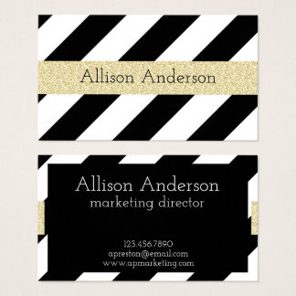 Modern Black and Gold Glitter Business Cards