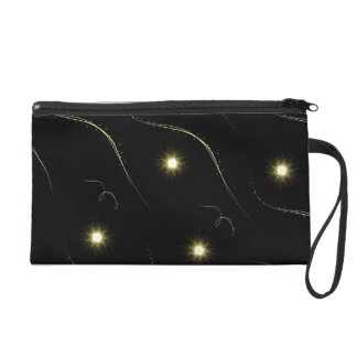 Modern Black And Gold Shooting Stars Wristlet Purse