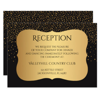 Modern Black and Gold Speckles - Reception Card
