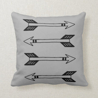 Modern Black and Gray Arrow Throw Pillow