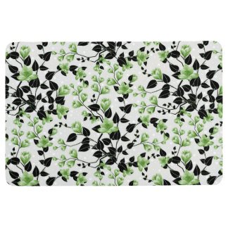 Modern Black and Green Floral Pattern Floor Mat