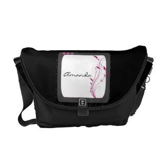 Modern Black and Pink Floral Messenger Bag