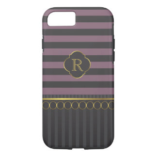 Modern black and plum stripe with gold rings iPhone 8/7 case