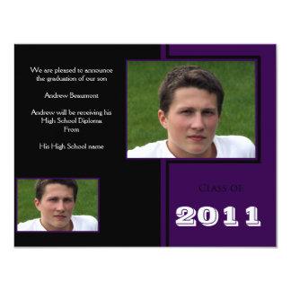 "Modern Black and Purple Quad Graduation 4.25"" X 5.5"" Invitation Card"
