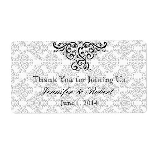Modern Black and Red Damask Water Bottle Label Shipping Label
