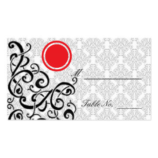 Modern Black and Red Damask Wedding Place Cards Business Card