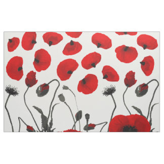 Modern Black and Red Flowers and Petals Fabric