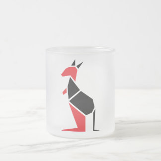 Modern black and red kangaroo symbol frosted glass mug