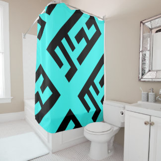Modern Black and Teal Shower Curtain 2