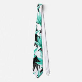 Modern Black and Teal Watercolor Tropical Leaves Tie