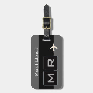 modern black and white airplane travel bag tag