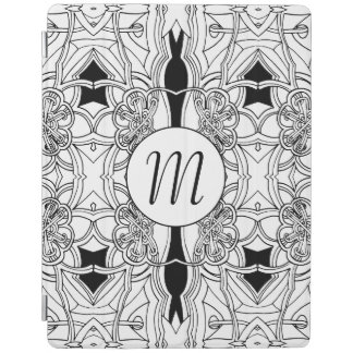 Modern Black and White Artwork with Monogram iPad Cover