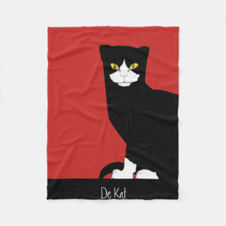 Modern Black and White Cat Art Fleece Blanket