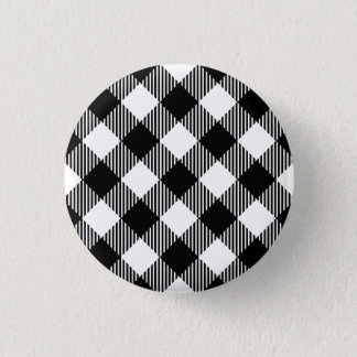 Modern Black and White Check Gingham Pattern 3 Cm Round Badge