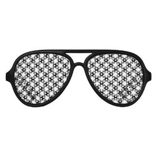 Modern Black and White Check Gingham Pattern Aviator Sunglasses