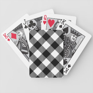 Modern Black and White Check Gingham Pattern Bicycle Playing Cards