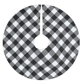 Modern Black and White Check Gingham Pattern Brushed Polyester Tree Skirt