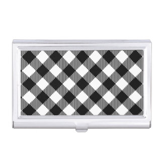 Modern Black and White Check Gingham Pattern Business Card Holder