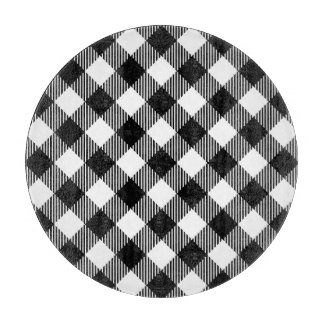 Modern Black and White Check Gingham Pattern Cutting Board