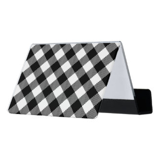 Modern Black and White Check Gingham Pattern Desk Business Card Holder