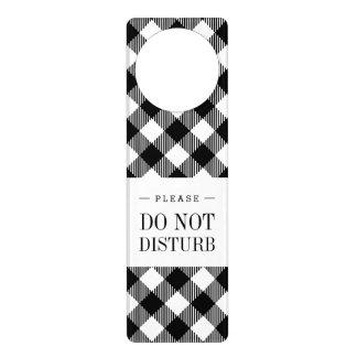 Modern Black and White Check Gingham Pattern Door Hanger