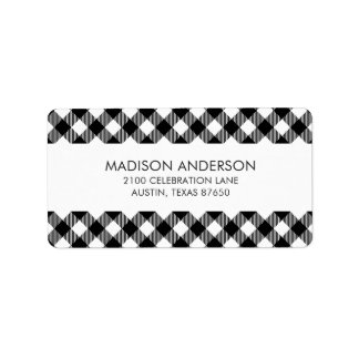 Modern Black and White Check Gingham Pattern Label