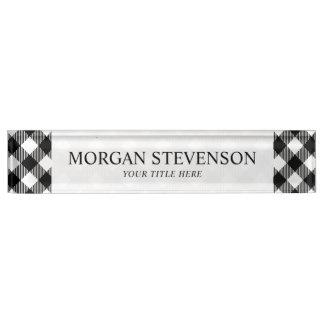 Modern Black and White Check Gingham Pattern Nameplate