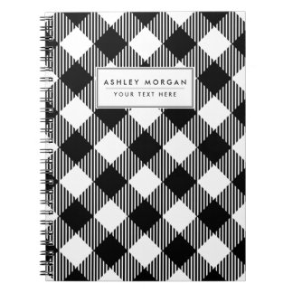 Modern Black and White Check Gingham Pattern Notebook