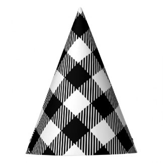 Modern Black and White Check Gingham Pattern Party Hat