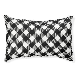 Modern Black and White Check Gingham Pattern Pet Bed