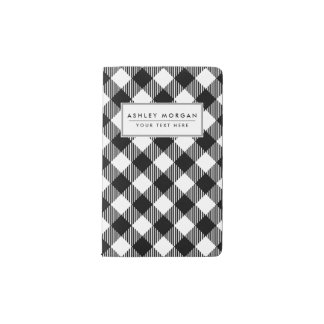 Modern Black and White Check Gingham Pattern Pocket Moleskine Notebook