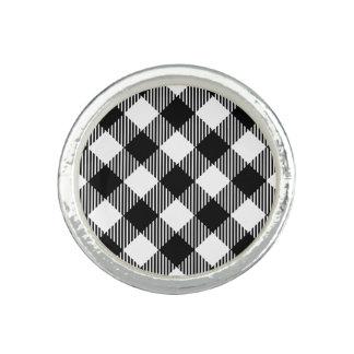 Modern Black and White Check Gingham Pattern Ring