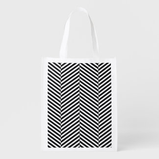 Modern Black And White Chevron Stripes Pattern Reusable Grocery Bag