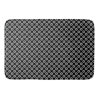 Modern Black and White Circle Pattern Bath Mat