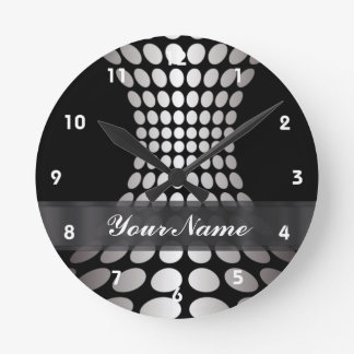 Modern black and white circle pattern round clock