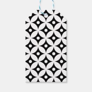 Modern Black and White Circle Polka Dots Pattern Gift Tags