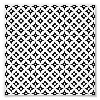 Modern Black and White Circle Polka Dots Pattern Photo Print
