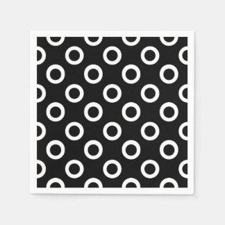 Modern Black and White Circles Cocktail Napkins Disposable Serviettes