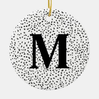 Modern Black and White Dalmatian Spots Round Ceramic Decoration