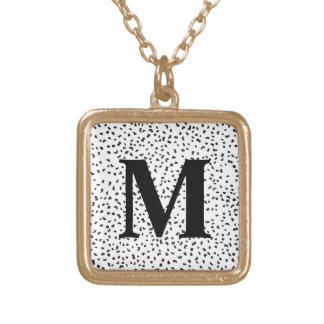Modern Black and White Dalmatian Spots Square Pendant Necklace