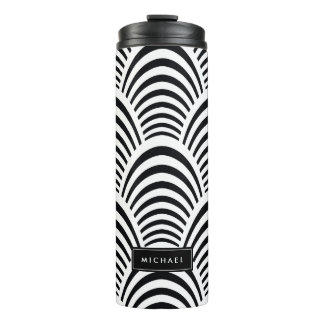 Modern Black and White Deco Jazz Custom Name Thermal Tumbler