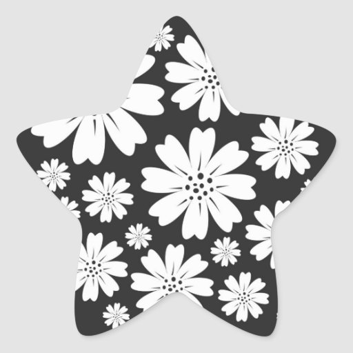Modern Black And White Ditsy Floral Pattern Star Stickers